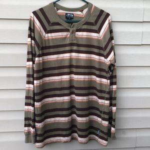 Stussy men's long sleeve striped Henley shirt